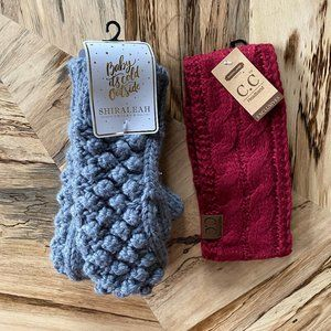 Set of Knit Gloves and Headband